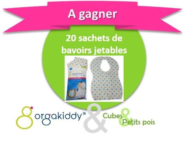 Orgakiddy offre 20 pochettes de bavoirs jetables - Anniversaire Cubes et Petits pois {Cadeau 5}