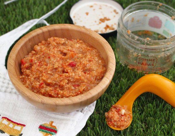 Recette bébé Mousseline d'artichaut, tofu, compotée de tomate et poivron par Comme des papas Collection été