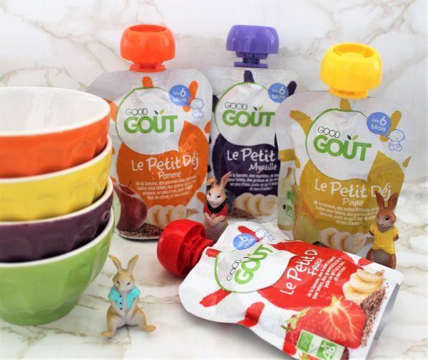 Petit-déjeuner bio pour bébé en gourde par Good Goût Avis Cubes et Petits pois